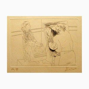 Peintre Chauve devant sohn Chevalet - Original Radierung von Pablo Picasso - 1927 1927