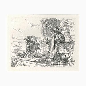 Philosopher Standing with Two Figures - Original Etching by G.B. Tiepolo 1740s