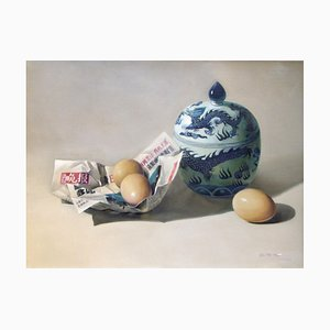 Fresh News / Eggs and Ceramics - Original Öl auf Leinwand von Zhang Wei Guang - 2007 2007