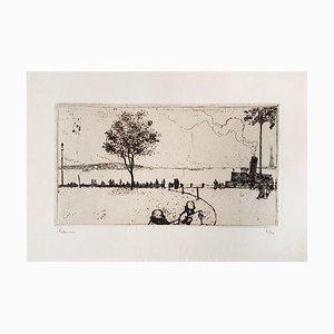 New York, Battery Park - Original Radierung von JE Laboureur - 1907 1907