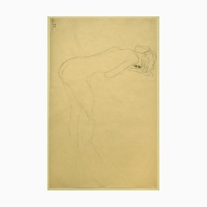 Gustav Klimt, Nude of Woman Reclined on the Back of a Chair on the Right, Original Drawing circa 1905