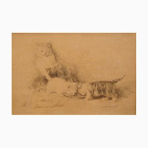 Three Little Cats - Original China Ink Drawing by L.-E- Lambert - 1890 ca. 1890 ca