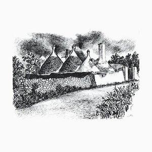 Trulli in Alberobello - Original Ink Drawing by Renato Guttuso - 1978/79 1978/79