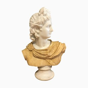 Bust of Apollo - Carrara Marble and Yellow Marble by Unknown Master Early 1900 Early 1900