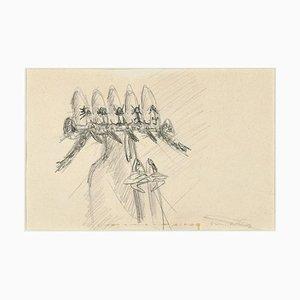 Ohne Titel - Frühe Surrealistische Bleistift Zeichnung von Roberto Matta - 1950s 1950s