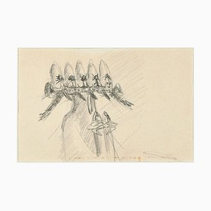 Untitled - Early Surrealist Pencil Drawing by Roberto Matta - 1950s 1950s