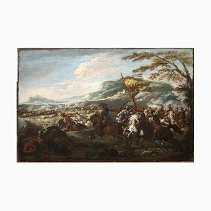 Battle of Cavalries - Oil Paint by F. Graziani (Ciccio Napoletano) - Late 1600 Late 17th Century