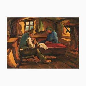 Scène Untitled / Interior - Huile sur Toile par JI Mus - Mid 20th Century Mid 1900