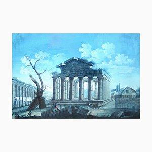 Blick auf den Hexastyle Periptero Tempel aus dem Ponente - Tempera Frühem 19. Jahrhundert