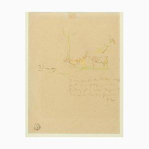 Scène Bucolique - 1930 / 40s - Oskar Kokoschka - Dessin au Crayon 1930 / 40s