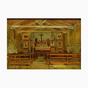 Interior of a Church - Oil Painting by Hermann Corrodi, late 1800 Late 19th Century