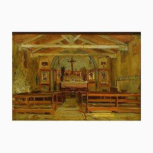 Interno di una chiesa - Pittura ad olio di Hermann Corrodi, fine XIX secolo Fine XIX secolo