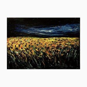 Sunflower Field - Original Oil on Canvas by Claudio Palmieri - 1985 1985