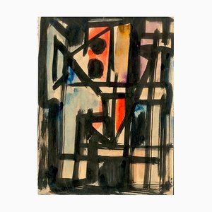 Composition Abstraite - Encre Originale sur Papier par Emilio Vedova - 1950 1950