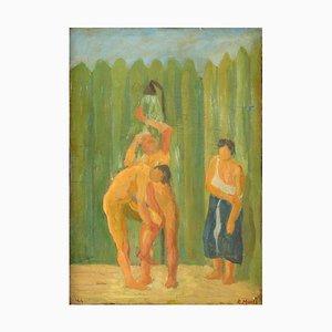 La Doccia (The Shower) - Öl auf Holzplatte von R. Monti - 1944 1944