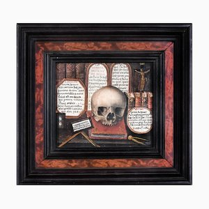 Skull with Sacred Writings and Tablets of the Law - Tempera on Cardboard 18th Century