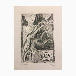 I Tuffatori a Capri - Original Etching by Felice Casorati - 1949 1949