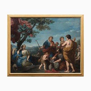 Escena bucólica - óleo sobre lienzo atribuido a Michelangelo Ricciolini - 1705 1705