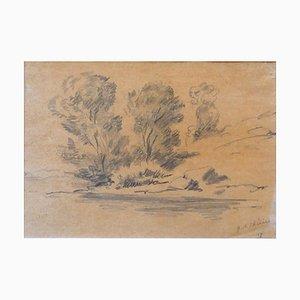 Disegno originale a matita di Giorgio De Chirico, 1977, 1977