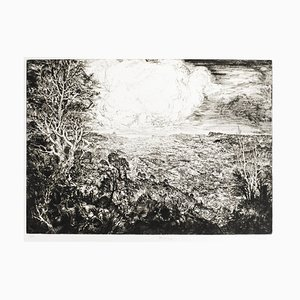 Landscape with Cars - Original Etching by J.P. Velly - 1969 1969