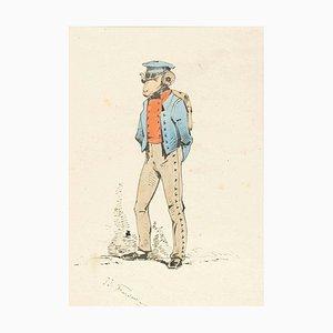 The Infantmanyman - Original Ink Drawing and Watercolor von JJ Grandville um 1845