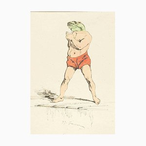 The Swimmer - Original Ink Drawing and Watercolor by J.J. Grandville 1845 ca.
