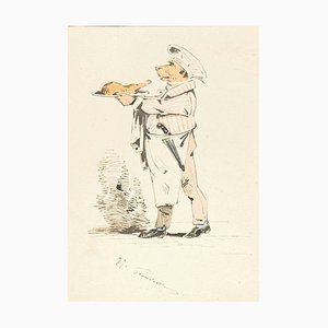 The Chef - Original Tuschezeichnung und Aquarell von JJ Grandville um 1845