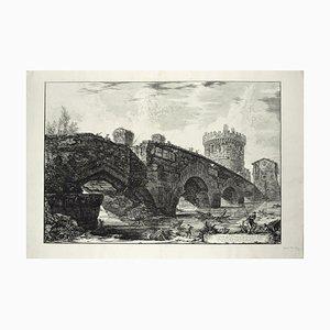 Veduta del Ponte Lugano sull'Anione - Original Etching by G. B. Piranesi 1763