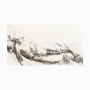 Femme Allongée / Lying Woman - Original Radierung und Kaltnadel von JP Velly 1969
