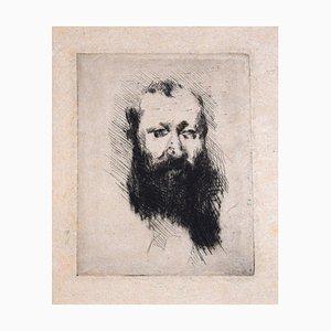 Portrait of Bearded Man Alphonse Hirsch - Original Etching by G. De Nittis -1875 1875