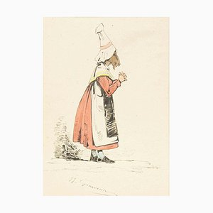 The Devotee - Original Ink Drawing and Watercolor by J.J. Grandville 1845 ca.