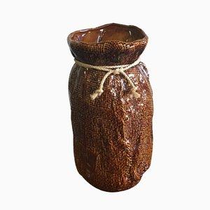 Midcentury German Brown Ceramic Vase