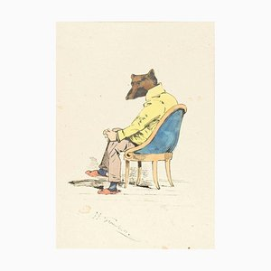 The Intellectual - Original Ink Drawing and Watercolor by J.J. Grandville 1845 ca.