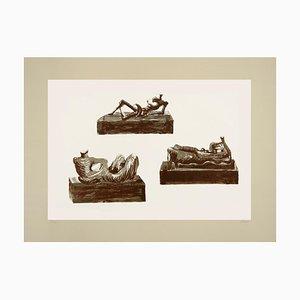 Drei Lehnsessel auf Sockeln - Original Lithographie von Henry Moore - 1976 1976
