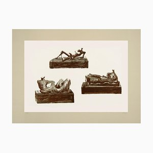 Three Reclining Figures on Pedestals - Original Lithograph by Henry Moore - 1976 1976