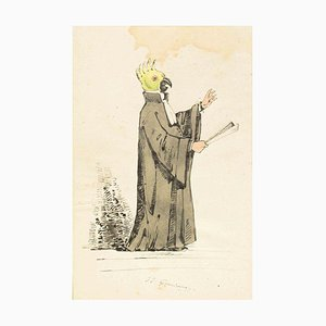 The Preacher - Original Ink Drawing and Watercolor by J.J. Grandville 1845 ca.