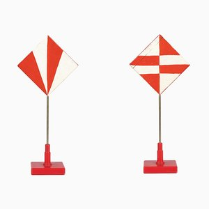 Pair of Geometric Patterns - Original Tempera on Wood by Giacomo Balla - 1930s 1930s