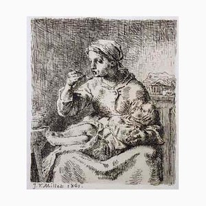 La Bouille - Original Etching by J. F. Millet - 1861 1861