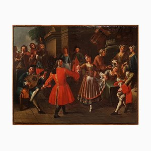 Pair of Scenes of Celebration with Musicians - Oil on Canvas - 18th Century 18th century