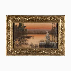 Romantic Landscape at Sunset - Original Oil Painting by E. Serra y Auque Early 20th Century