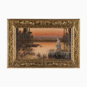 Romantic Landscape at Sunset - Original Oil Painting de E. Serra y Auque, principios del siglo XX