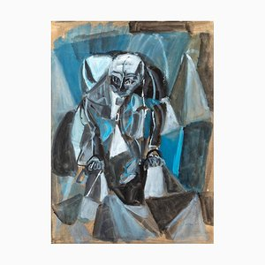 Abstract Composition - Original Tempera on Have paper by P. Sadun - 1953 1953