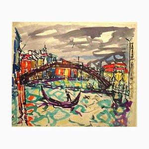 Il Ponte dell'Accademia - Original Stift Marker und Aquarell - 1948 1948