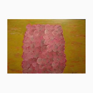 Pink and Yellow Composition - Original Tempera by P. Consagra - 1973 1973
