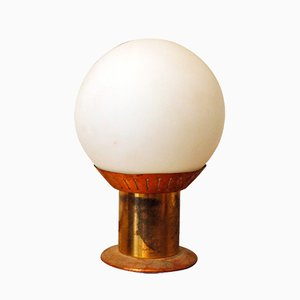 Vintage Opaline Glass and Brass Table Lamp from Stilnovo