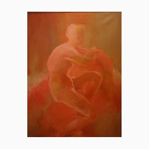 Female Red Nude - Oil on Canvas by L. Barbarini - 1998 1998