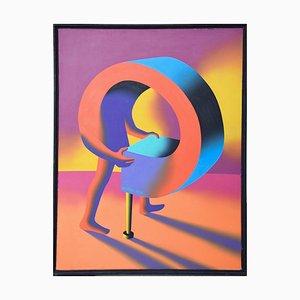 Winning Streak - Original Oil on Canvas by M. Kostabi - 1995 1995