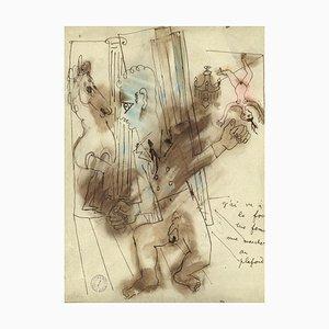 J'ai Vu à la Foire une Femme Nue Marcher au Plafond - Drawing by J. Cocteau 1927