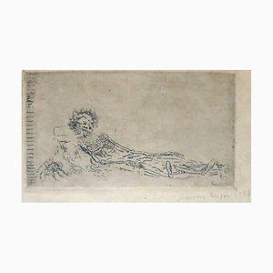 Litografia My Portrait del 1960 - Incisione originale di James Ensor - 1888 1888