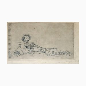 My Portrait in 1960 - Original Etching by James Ensor - 1888 1888
